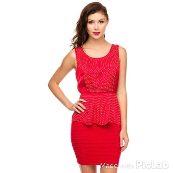 New! NWOT red peplum dress New! New without tags Dresses