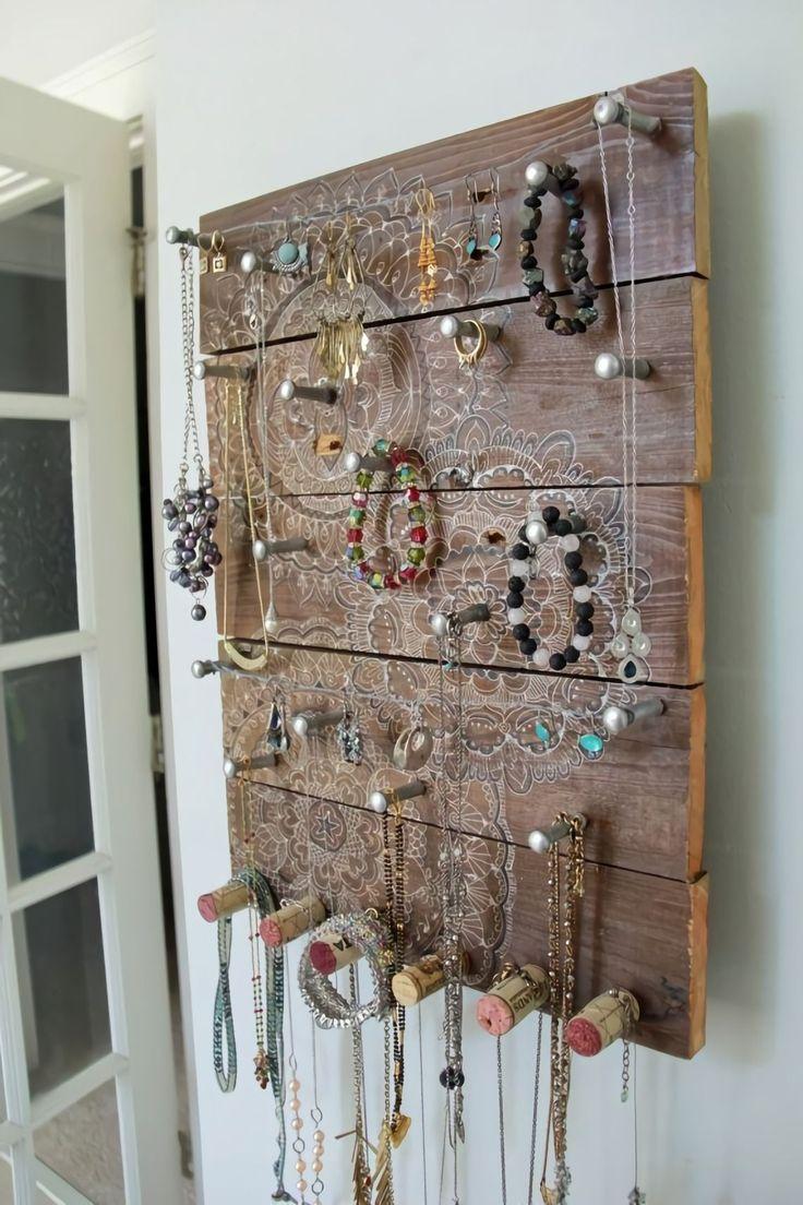 DIY jewelry holder ideas, board, hanging, earrings, dish, travel, wood, wall, modern, drawer, tray, for studs, metal, branch, tree #DIY #jewelryholder