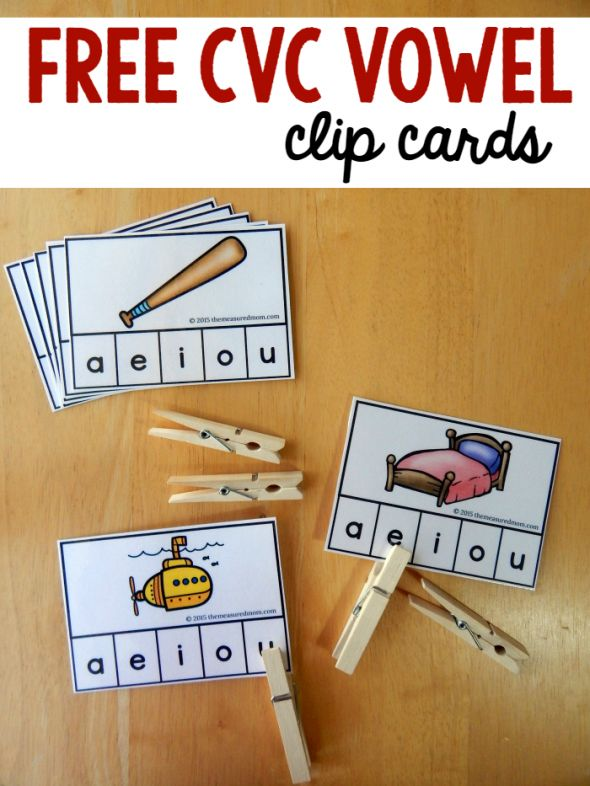 Medial (middle) vowel clip cards. Can also be used with manipulatives, sorting, or as self-checking poke cards.