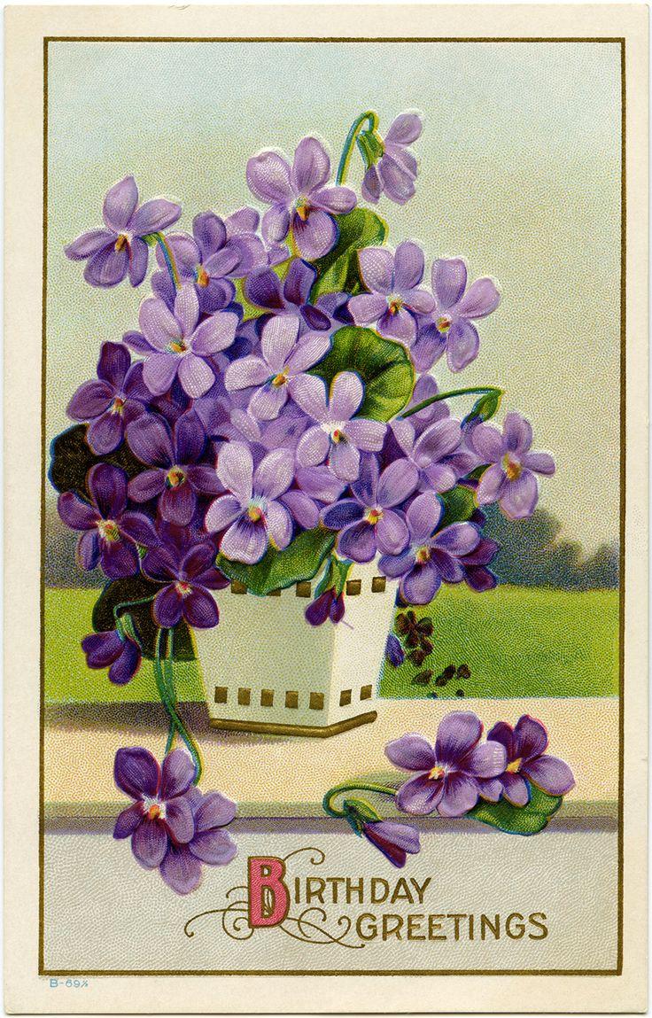 Purple Flowers in Basket ~ Printable Victorian Birthday Postcard