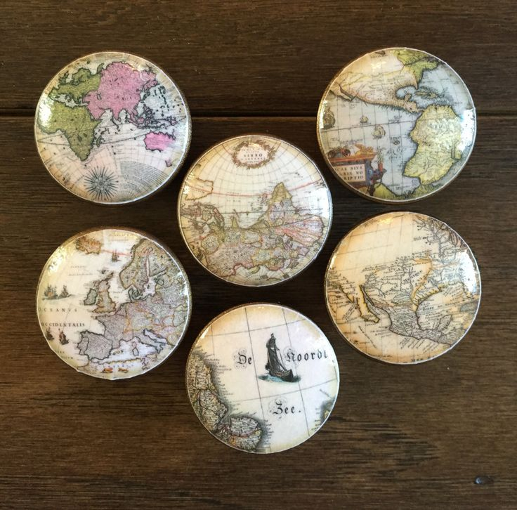 1.5 inch old world maps cabinet knobs drawer pulls brown antique look by HolyChicBoutiqueCo on Etsy