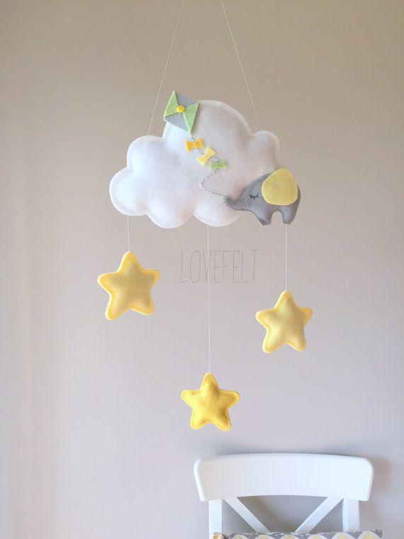 READY TO SHIP - nuage-Mobile de bébé - bébé éléphant mobile - Cloud mobile mobile d