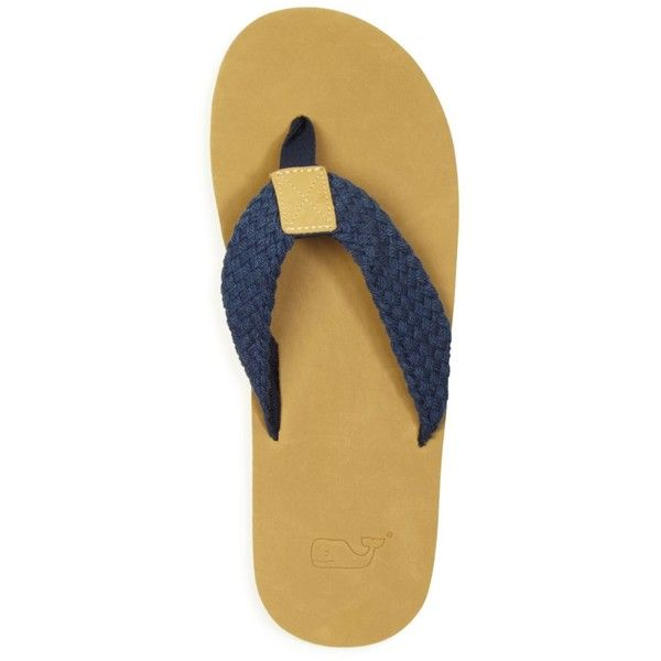 Vineyard Vines Washed Webbing Leather Flip Flops (4345 DZD) ❤ liked on Polyvore featuring men's fashion, men's shoes, men's sandals, men's flip flops, vineyard navy, mens navy shoes, mens woven shoes, mens leather flip flops, navy blue mens shoes and mens woven leather shoes