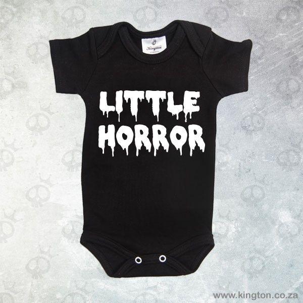 Little Horror - Black babygrow #horror lettering. #KingtonKustomKulture