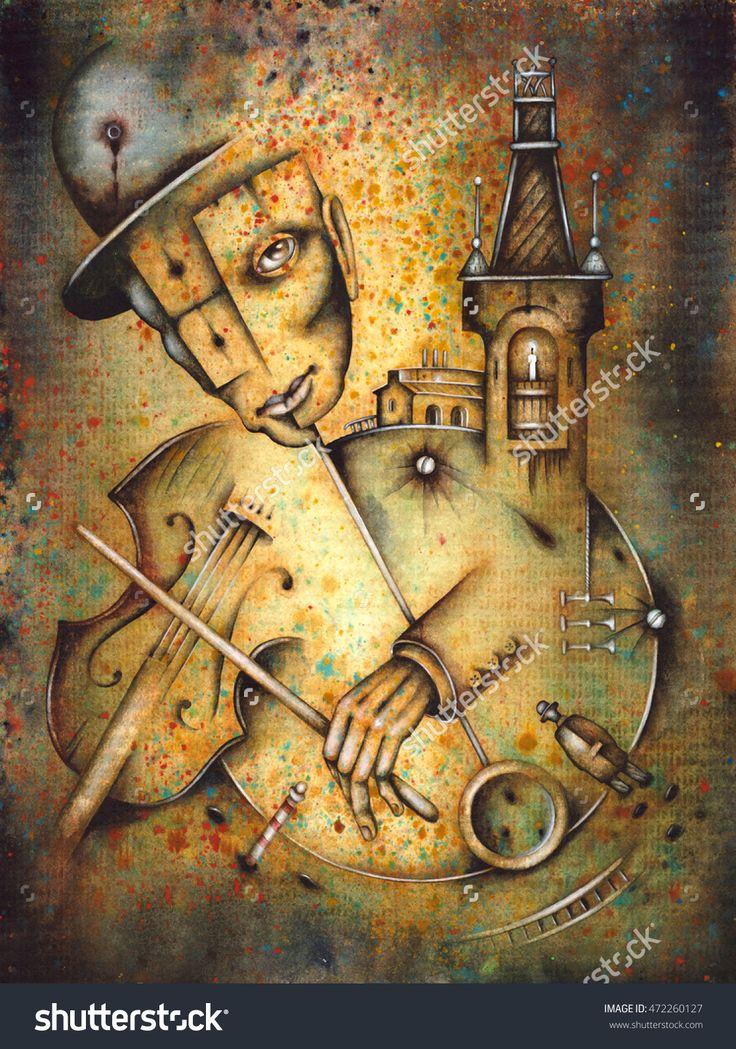 A Lone Violinist by Eugene Ivanov. #eugeneivanov #klezmer #musician #jewish #jew #@eugene_1_ivanov