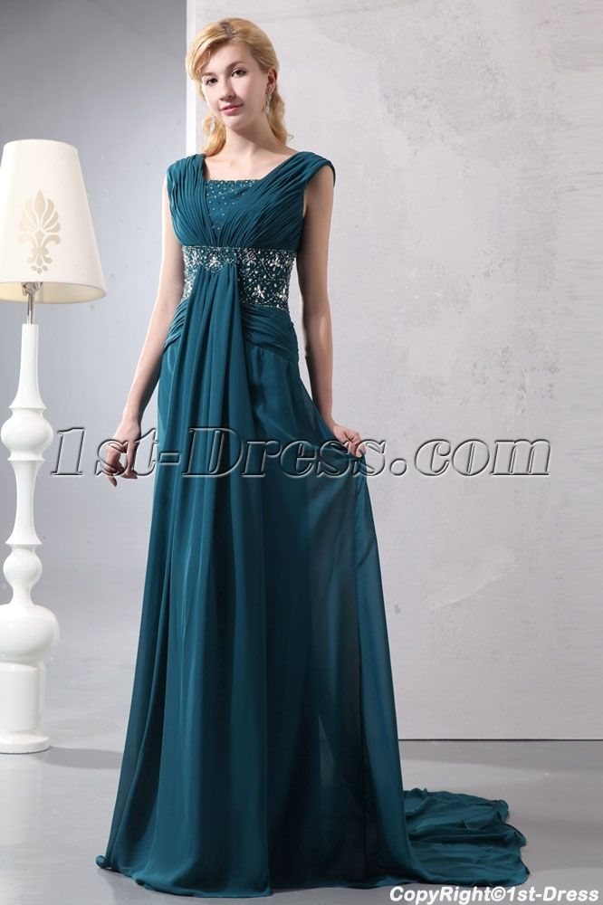 Hunter Green Chiffon V-neckline Plus Size Formal Dress with Train:1st-dress.com