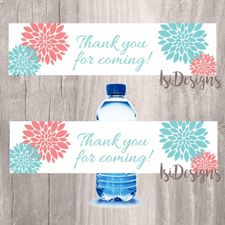 Water bottle labels, teal and coral floral labels for bottles, INSTANT DOWNLOAD, floral teal and coral baby shower printable label favors by IsiDesigns on Etsy
