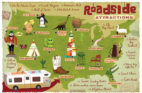 Roadside America - links to fun quirky places to travel around the US