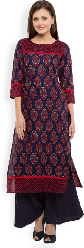 Vishudh Printed Women's Straight Kurta  (Dark Blue, Red)
