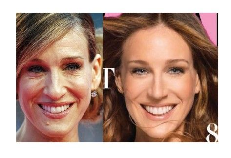Sarah Jessica Parker without Photoshop, and SJP airbrushed for Harper's Bazaar.