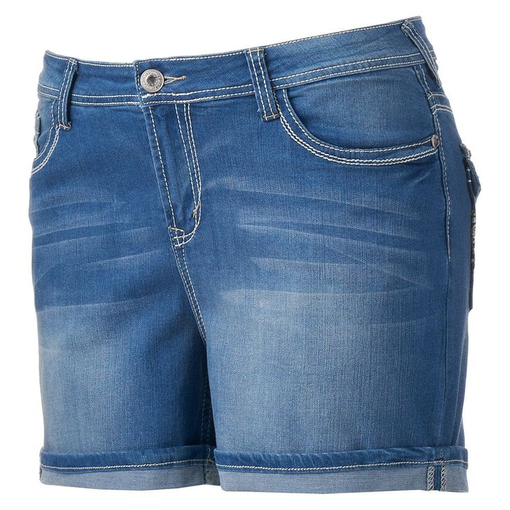 Juniors' Plus Size Wallflower Curvy Chevron Pocket Denim Midi Shorts, Teens, Size: 18 W, Med Blue