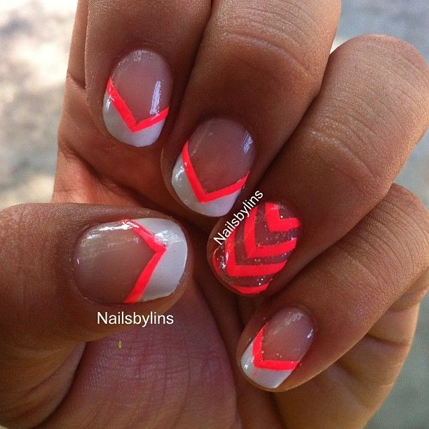 "Simple pink and white French manicure, with a ""chevron ..."