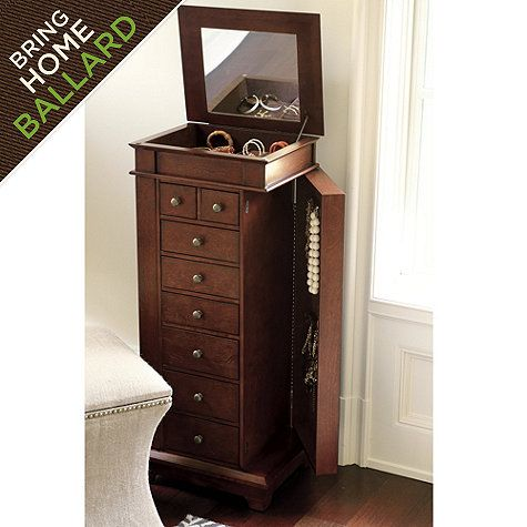 Jewelry organizing:  A dedicated jewelry tower/chest/armoire.  Rather pricey but worth it if you have tons of jewelry and the space for the chest in your room.  It's just under four feet tall.  Also comes in white.