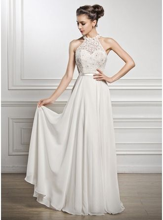 A-Line/Princess Scoop Neck Floor-Length Chiffon Lace Wedding Dress With Beading Sequins #jjshouse