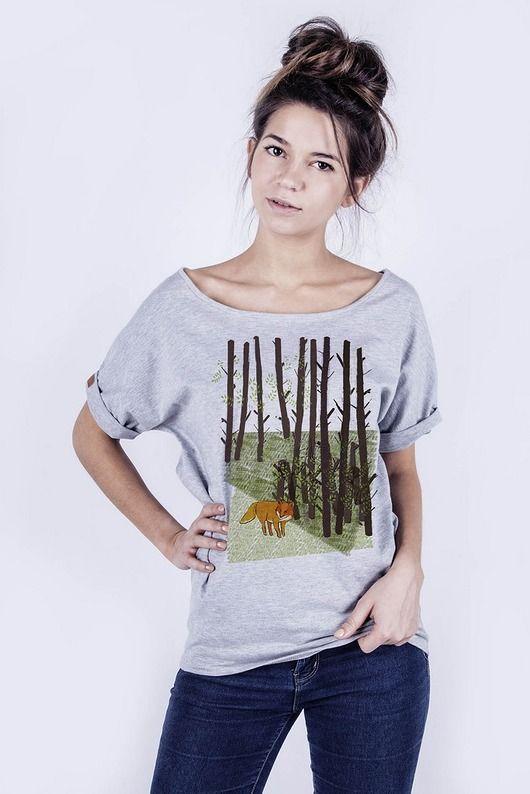 bluzki - t-shirty - damskie-T-shirt damski `Lis w lesie`