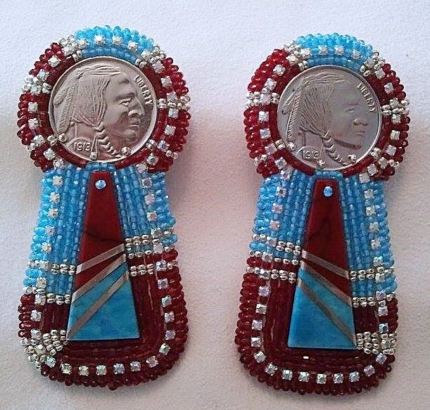one of a  kind  pair of  beaded  earrings