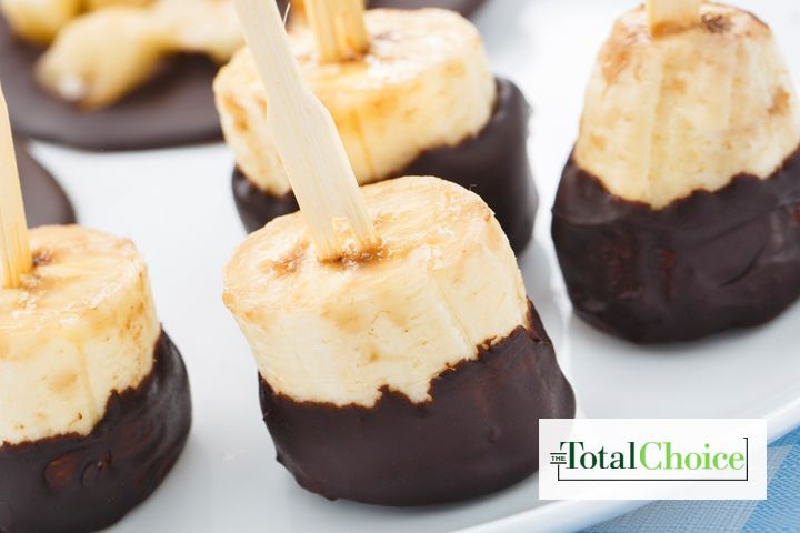 Total Choice Chocolate-Dipped Banana Bites: The chocolate covered banana is a definite crowd pleaser. This recipe gives an old favorite a healthy twist. Eat this treat on...