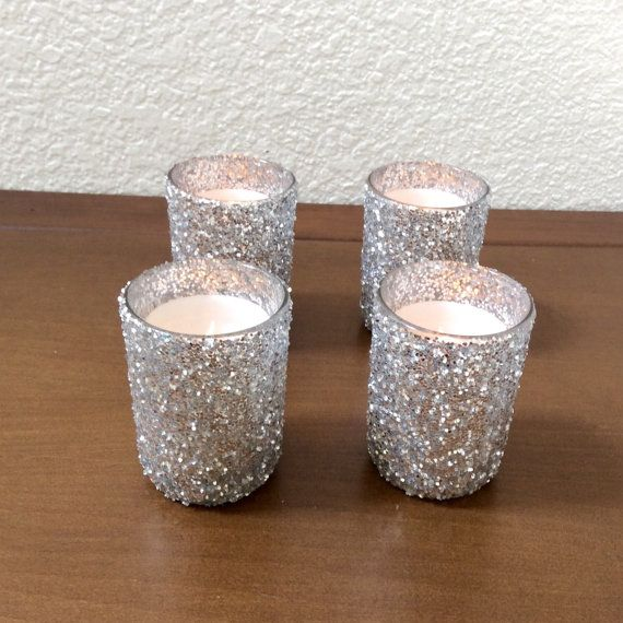 4 Silver Glitter Candle Holders  wedding candle by Lenoreloves