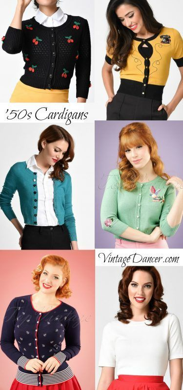 Vintage inspired cardigans and sweaters, long and short sleeve knit tops