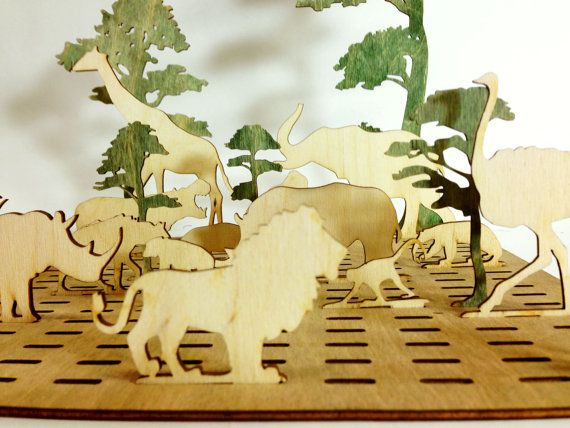 Safari Wood Toy Set  Kids Toy  Wooden Animals  by Base9Designs, $30.00