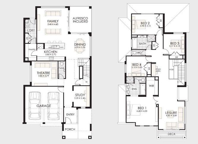 Diseu00f1o y planos de casas de dos pisos con ideas para construcciu00f3n ...
