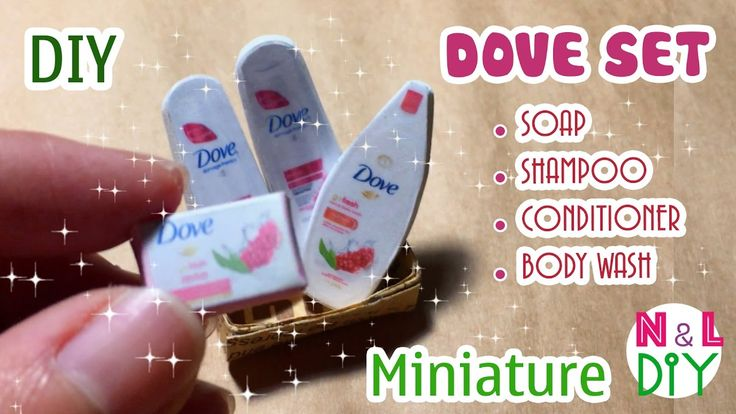 tutorial: miniature Dove products (soap, shampoo, conditioner, body wash)
