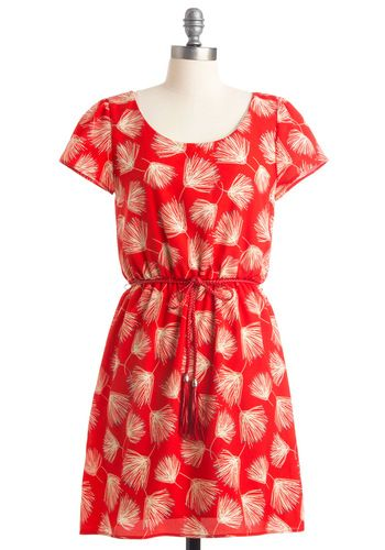 Instant Wishes Dress: Summer Dresses, Spring Dresses, Dandelions Dresses, Red Dresses, Cute Dresses, Dandelions Prints, Everyday Dresses, Bold Colors, Dresses 52 99