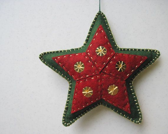 Felt Star Christmas Ornament by FiddledeeDeeCraft on Etsy, $15.00