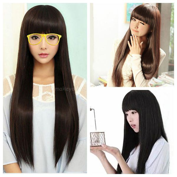 Women s  Full Long Fancy Dress Wigs Straight Hair Cosplay Costume Party Sexy Wig
