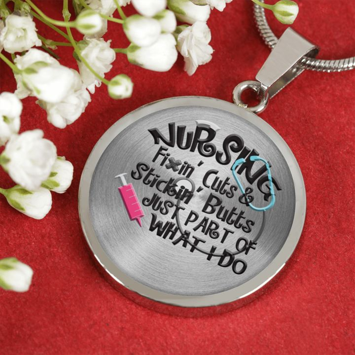"""Funny Nurse Gift, """"Nursing Fixin' Cuts & Stickin' Butts Just Part of What I Do"""" Fun Gift for Nurses"""