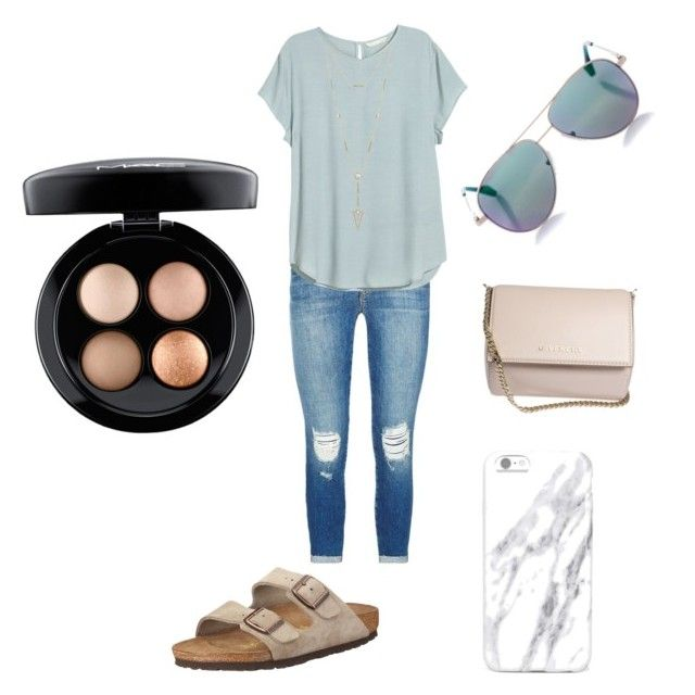 """""""How to wear Birkenstocks part:2"""" by elyserowe on Polyvore featuring J Brand, Birkenstock, H&M, House of Harlow 1960, Givenchy, Cutler and Gross and MAC Cosmetics"""