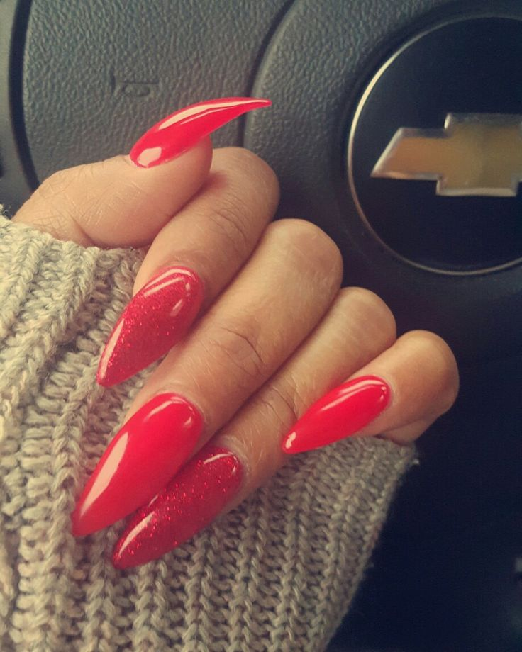 Red Ferrari & Red Glitter Stiletto Nails