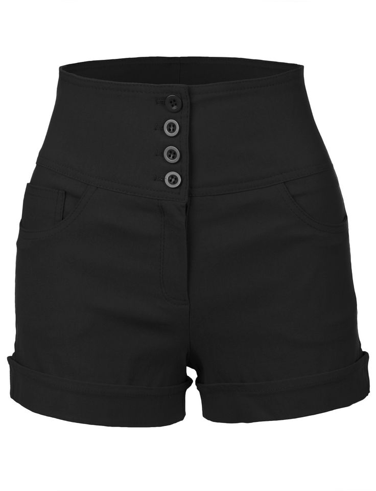 LE3NO Womens Stretchy High waisted Button Sailor Nautical Shorts
