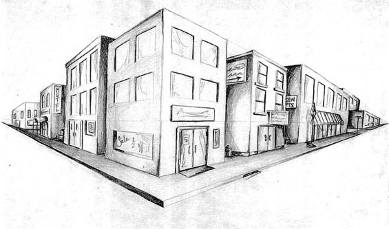 Art - two point perspective drawing.  These were always my favorite to draw in school!