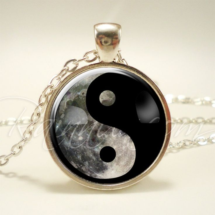 Yin Yang Moon Necklace, Soft Grunge 90s Pendant, Nineties Fashion Jewelry (1986S1IN) by rainnua on Etsy