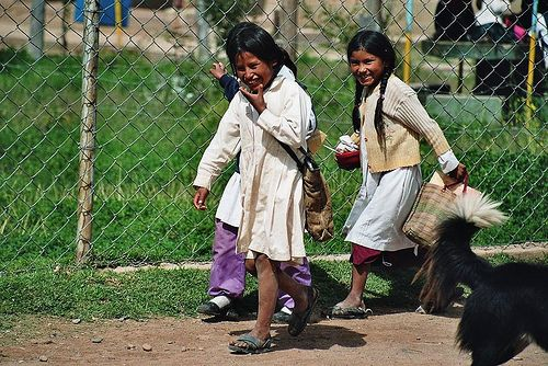 students leaving a rural school, Bolivia (analog photography)