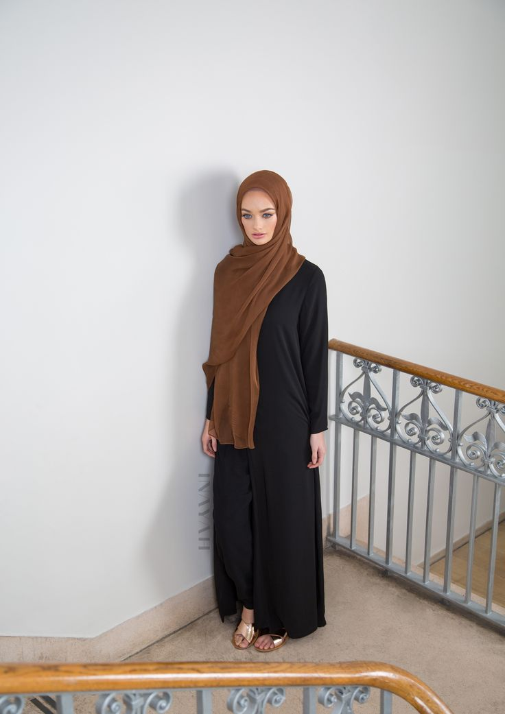 INAYAH | Elegant cuts and modest tailoring.  Black Split Front #Maxi - also available in Ice Coffee, Pale Blue & Khaki Rust Maxi Georgette #Hijab  www.inayah.co