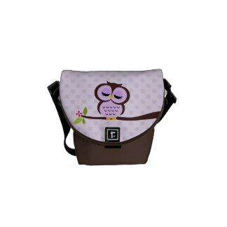 Cute Purple Owl Commuter Bags
