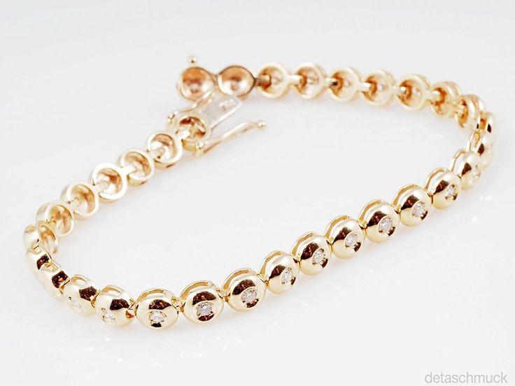 Memory Armband mit 1,00 Karat Brillanten 585 Gold ca. 18,40 Gramm