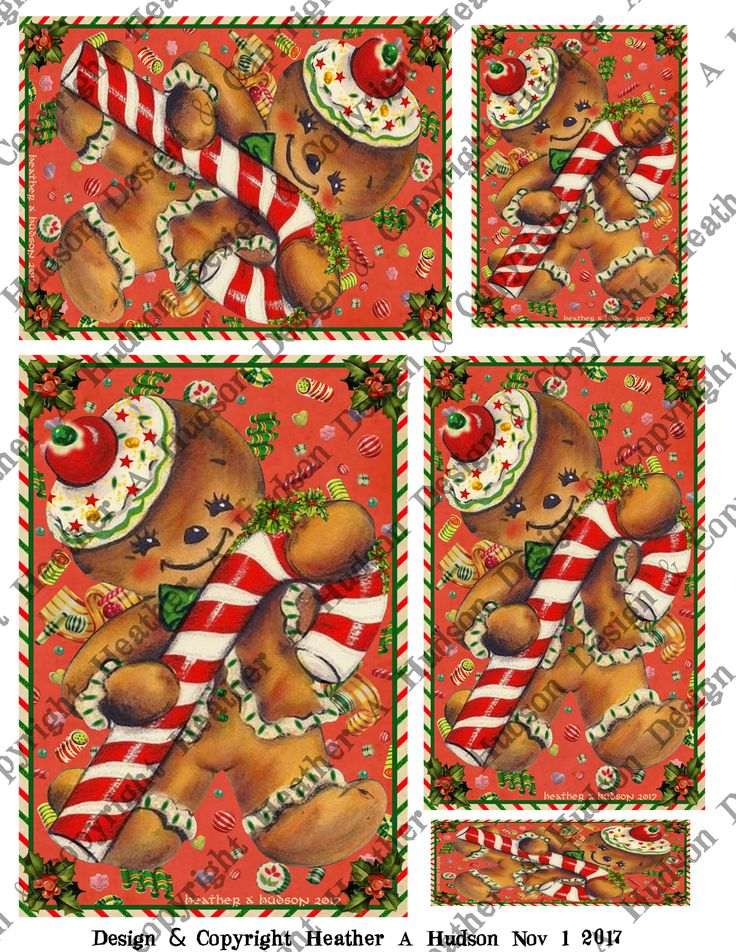 Vintage Retro Gingerbread men man cookie candy cane red background focal ATC Microscope Slide A2 size 5 by 7 size Card fronts