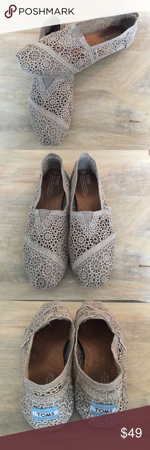 Toms Classic Silver Moroccan Crochet Toms Classic Silver Moroco Crochet. Beautiful grey sliver colored lace crocheted Toms. Great condition! Barely worn. Comes with original box, sticker and flag. No trades! Offers are welcome :) TOMS Shoes