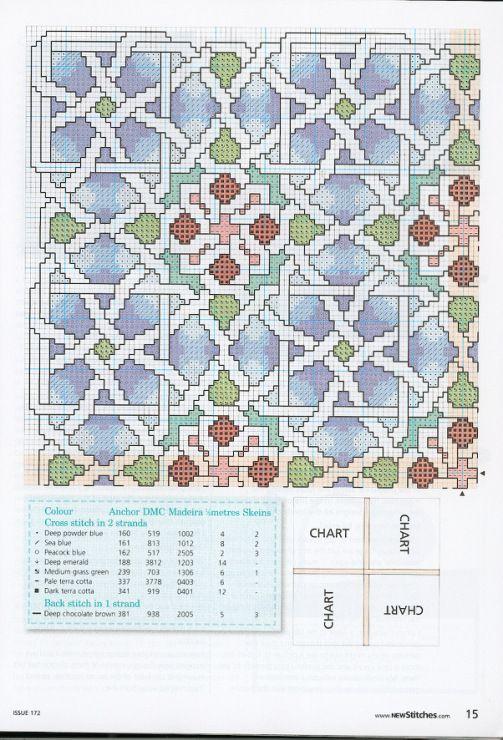 Cross-stitch Geometric Patterned Pillow, part 2... Gallery.ru / Фото #2 - New Stitches 172 - rua