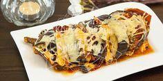 Gebackene Aubergine mit Schinken und Cheddar – So lecker ist Low Carb Einfach & schnell - Herzhaft gefüllte und gebackene Auberginen inkl. Rezept-Video