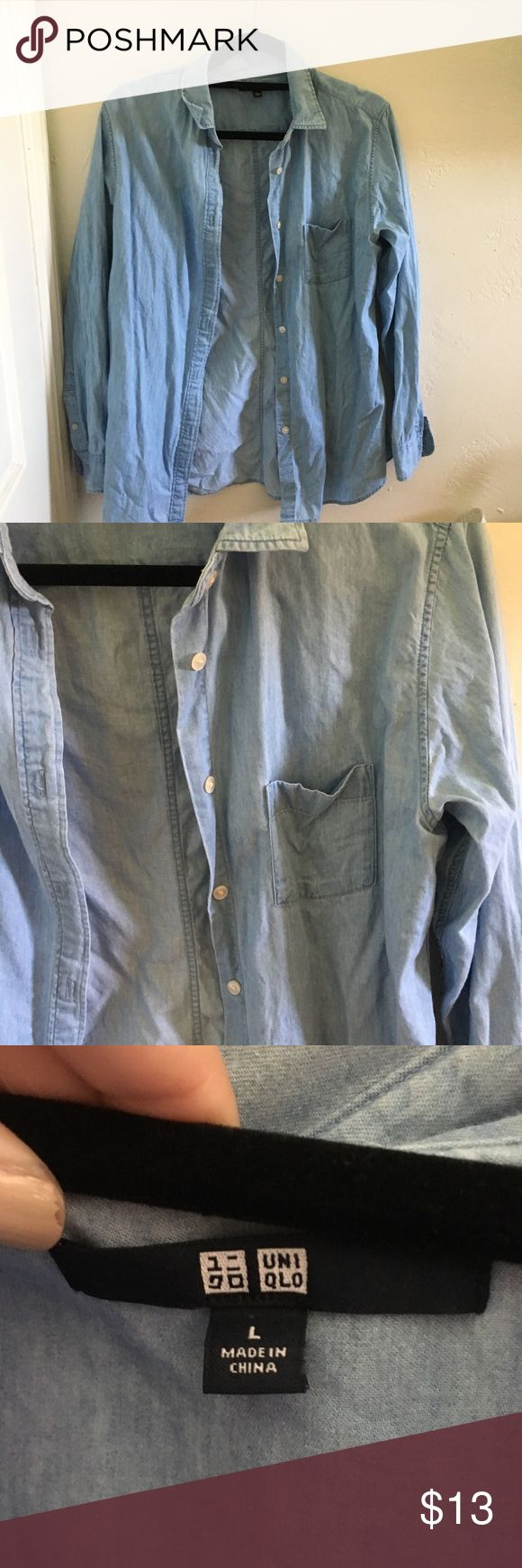 Uniqlo Denim Shirt This is a chambray denim shirt from the brand Uniqlo. It's in good condition! It has a spot that is very slightly faded (as pictured) but it's barely noticeable on. Let me know if you have any questions! Uniqlo Tops