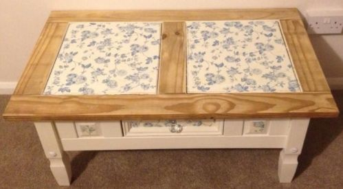 Vintage Shabby Chic Country Mexican Pine Coffee Table drawer hand painted & wax   eBay