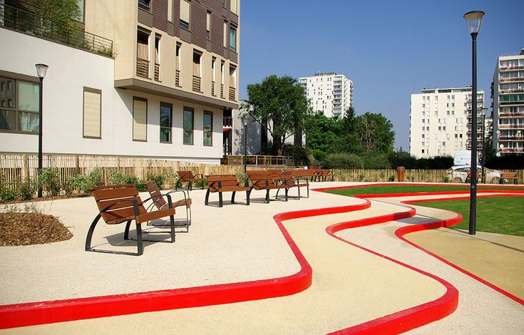 A toddler 39 s playground in alfordville france by espace for Red landscape architects