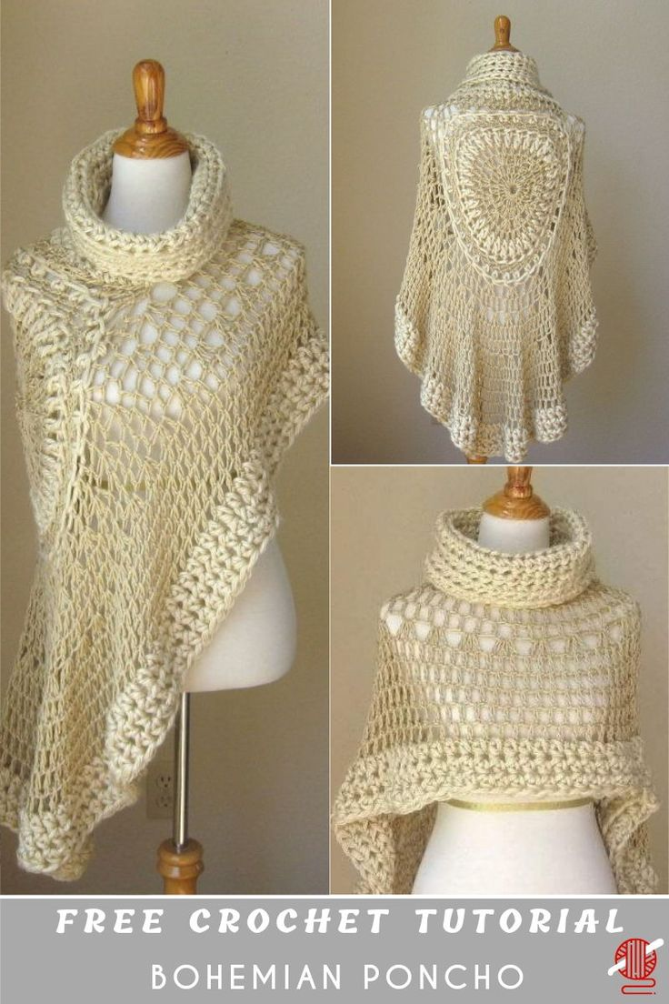 "Miracle Angel Crochet Poncho Scarf Free. This beautiful project has a name ""Beige Bohemian Poncho"", supposedly.This extremely beautiful poncho. Unfortunately, when we tried to figure out the source free pattern we can't find it. But it has several realizations therein with the tutorials, video, and pictures. Both we presented. Enjoy."