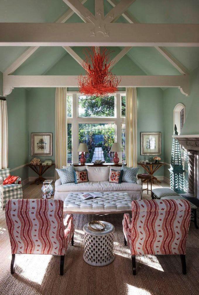 aqua coral coastal living room Massucco Warner Miller