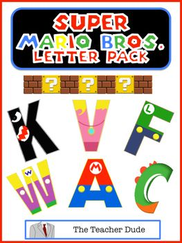 """Unique Super Mario Bros. Letters! This letter pack is designed to print, cut out each letter and use for classroom bulletin boards, parties, name signage or decor, and much much more. There is a separate page for each letter that is approximately 6"""" inches tall."""