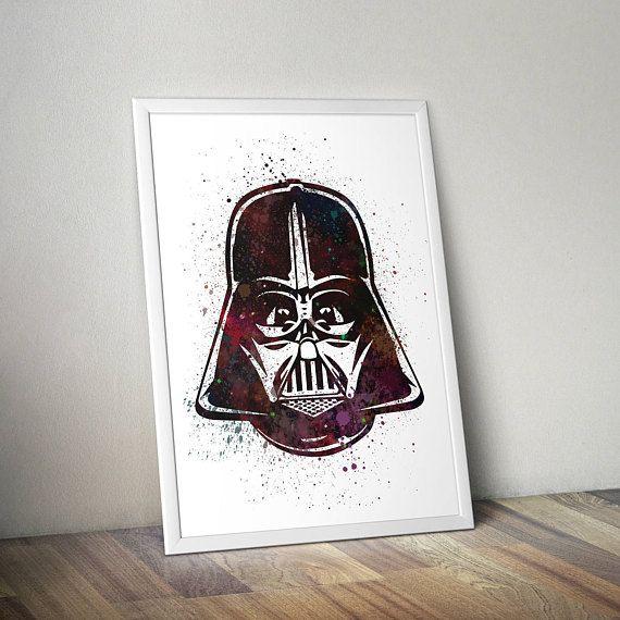 Star Wars Inspired Poster Print - Darth Vader Helmet | Watercolour | A2 Size-Resizable | Printable | Digital Download | Minimalist